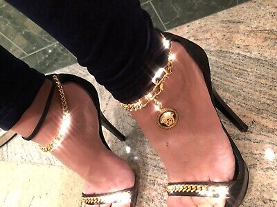 995$ Versace Gold Medusa Chain Ankle Open Toe Party Sandal in Black 38 8