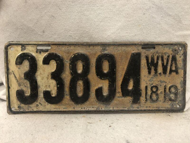 Vintage 1918/1919 West Virginia License Plate