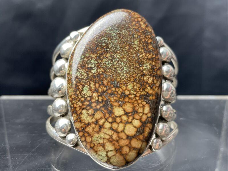 Vtg Huge 118g Navajo Spiderweb Turquoise Sterling Silver Cuff Bracelet