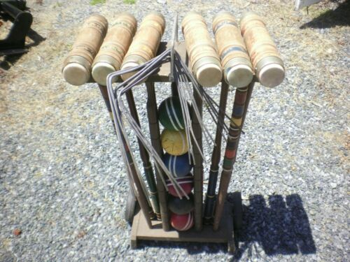 Vintage Forster? Croquet Set 6 Player w/Rolling Cart/Stand Complete Set