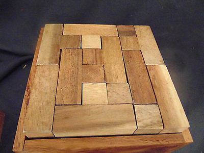 Solid Wood brain teaser puzzle hand crafted Box various woods challenging art Assorted Brain Teaser Puzzle