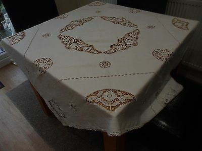 VINTAGE WHITE LINEN TABLECLOTH 56 x 55 in STUNNING CUT OUT WORK URN CHRISTMAS