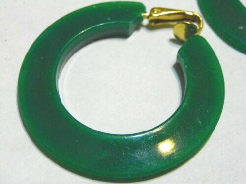 """Vintage Green Tapered edges HOOP plastic 2.5"""" clip on Earrings"""