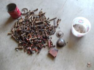 Farmall cub M H Tractor ih IHC box of bolts & parts nuts pieces covers cap
