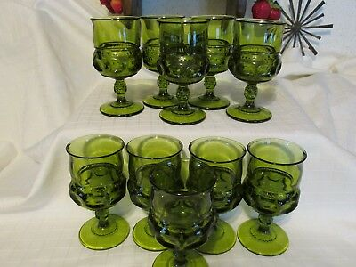 10 VINTAGE GREEN  INDIANA GLASS THUMBPRINT GOBLET 4oz. EXCELLENT CONDITION