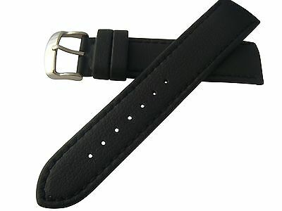20mm Hadley Roma Lorica Men's Vegan Leather Dive Watch Band Strap Black MS739