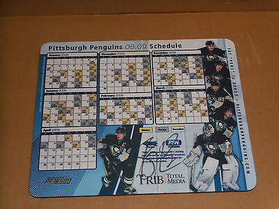 Sidney Crosby, Pgh Penguins, Signed Schedule/Computer Mouse Pad, Clean