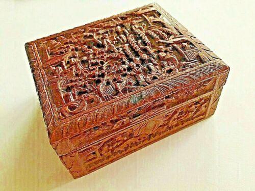 👍 19TH CENTURY CHINA CHINESE CANTON CARVED SANDALWOOD BOX 十九世纪广州出口过洋古董檀香盒