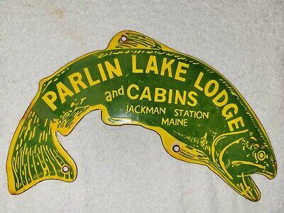 VINTAGE PARLIN LAKE CABINS PORCELAIN SIGN FISHING LODGE CAMPING HUNTING MAINE