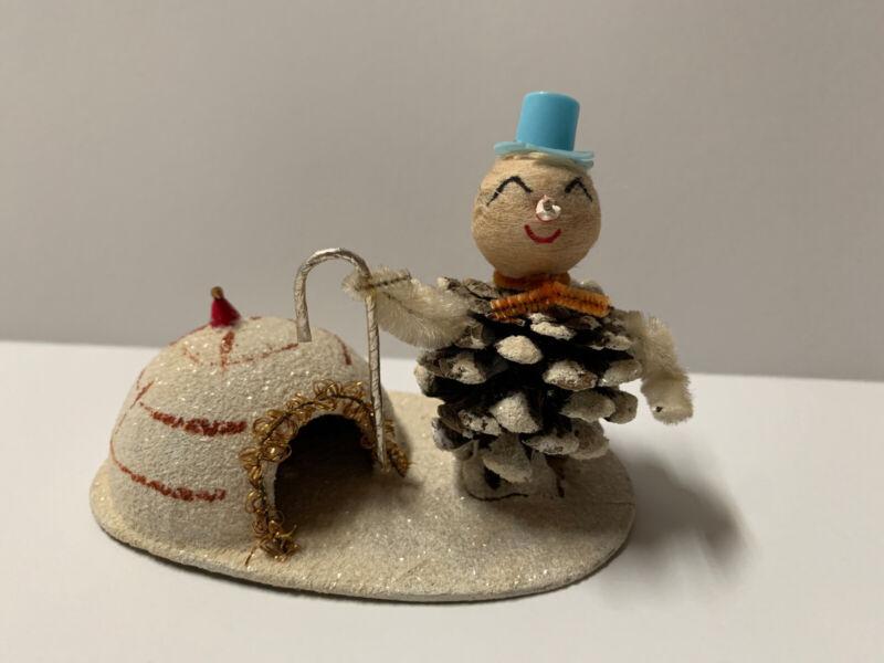 Rare Vintage Christmas Village Cardboard Putz Igloo House Pinecone Snowman TLC