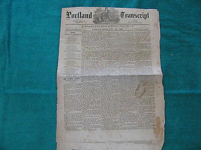 July 24, 1869 PORTLAND TRANSCRIPT Newspaper ~Vintage Ads~