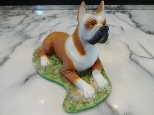 "Rare Vtg ALDON BOXER FIGURINE 7.5"" Ceramic Matte Porcelain Dog Grass Bone 1970s"