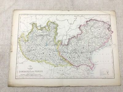 Antique Map of Lombardy Venice Italy Old Hand Coloured 19th Century Original
