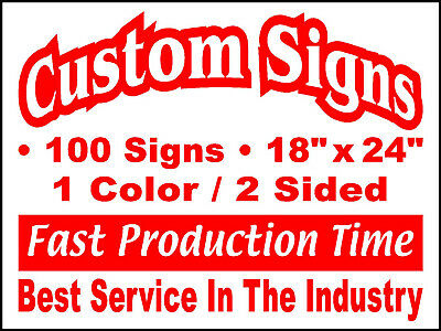 100 18x24 Double Sided Custom Coroplast Yard Signs