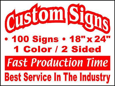 - 100 18x24 Double Sided Custom Coroplast Yard Signs