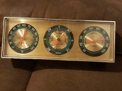 Vintage Springfield Instrument Desk Weather Station Barometer Thermometer USA
