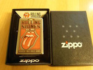 Zippo Lighter Satin Chrome Rolling Stones BNIB