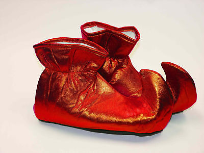 Red Elf Shoes Shiny Cloth Costume Christmas Xmas Adult Jester (Elf Shoes For Women)