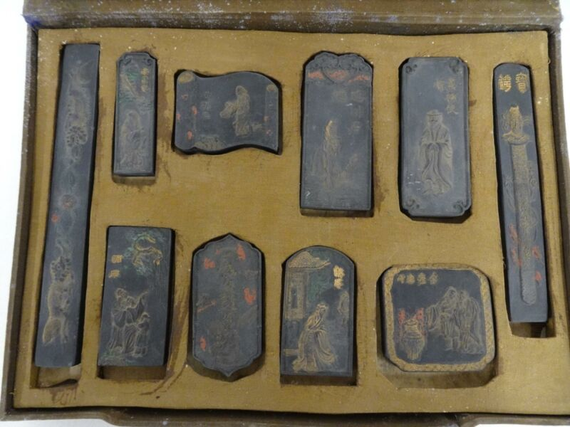 Antique Chinese Solid Ink Block Stone Set 10 Piece Stick Stamp