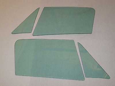1963-1967 CORVETTE COUPE 4 PC SIDE GLASS SET GREEN TINT DATED TO MATCH YOUR CAR