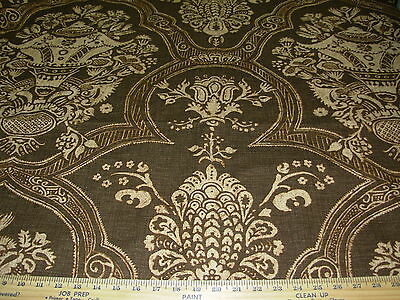 """~25 YDS~VICTORIAN """"JACOBEAN"""" BROWN~COTTON UPHOLSTERY DRAPERY FABRIC FOR LESS, used for sale  Shipping to Canada"""