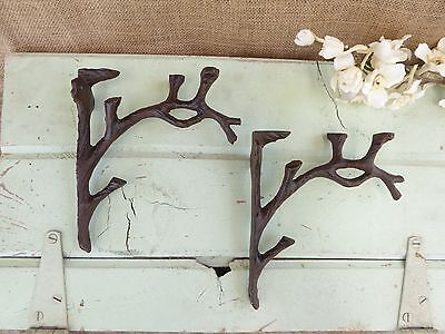 Set of 2 Cast Iron Tree Branch Twig Rustic Nature Corner Wall Shelf Brackets for sale  Shipping to India