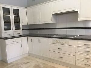 Kitchen white polyurethane and granite benchtops Clontarf Manly Area Preview
