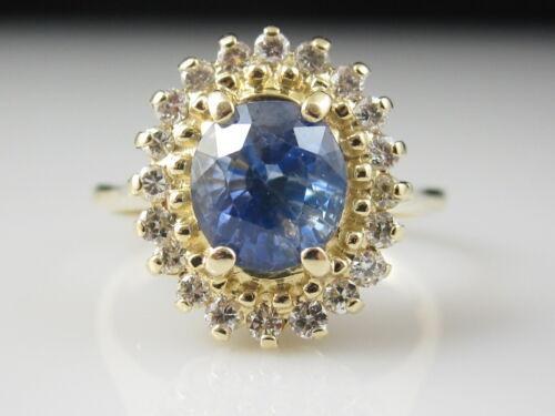 Sapphire Diamond Ring 14K Yellow Gold Cluster Genuine Natural Fine Estate Blue