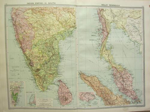1920 LARGE MAP INDIAN EMPIRE SOUTH MADRAS CEYLON MALAY PENINSULA SINGAPORE