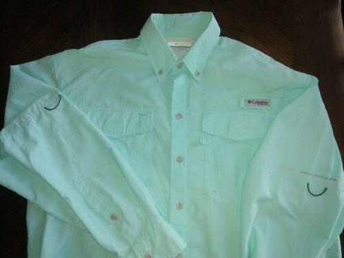 Mens COLUMBIA PFG UPF 30+ Wicking Vented Sea Foam Green L/S Button Shirt Small