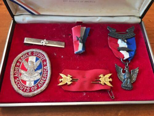 Vintage Eagle Scout Medal & Palm w/Case, Stick Pins, Pin, Patch, Tie Clip - BSA