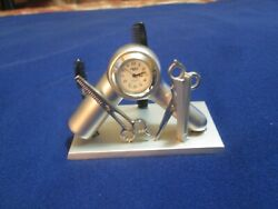 HAIR SALON DESK CLOCK BUSINESS CARD HOLDER ARTWORK - Metal Silver