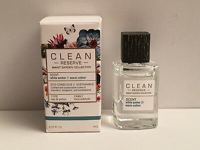 Bnib Clean Reserve Avant Garden Mini White Amber   Warm Cotton Edp  17Oz   5Ml