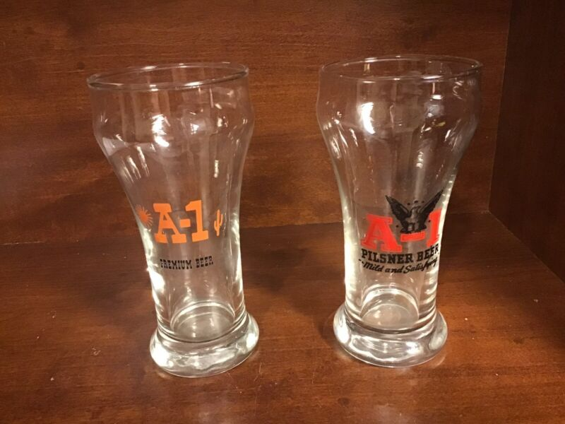 Vintage Pair Of Different A-1 Beer Sham Glasses