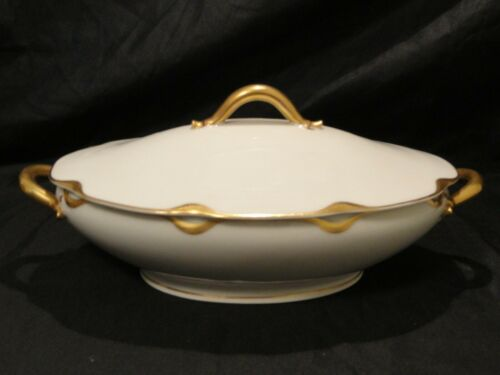 """Haviland Limoges France Silver Anniversary Oval Covered 10"""" Bowl Missing Paint"""