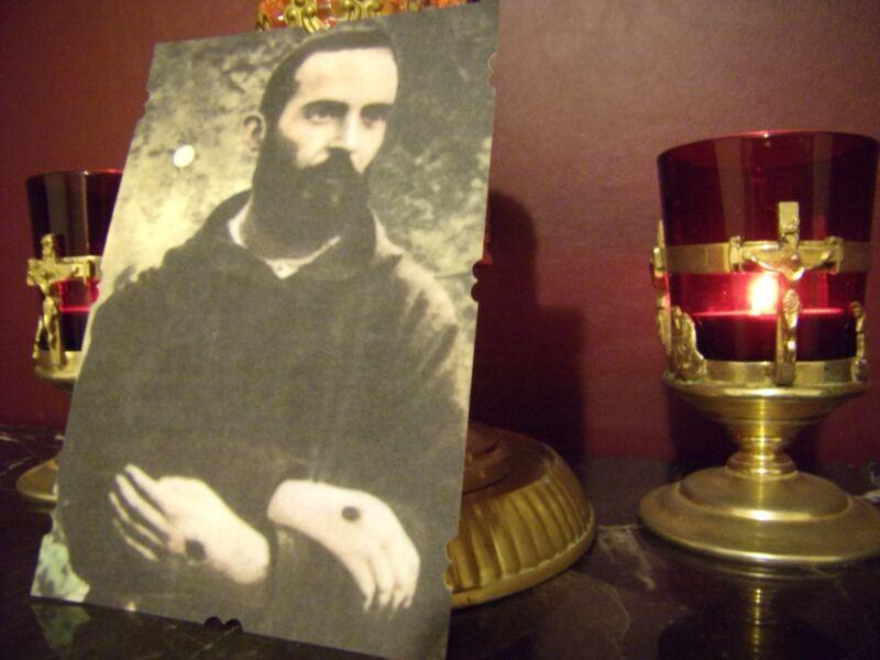 St. Padre Pio Stigmata Holy Card (di-cut) with Relic & Prayer Card