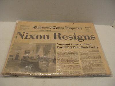 Vintage Richmond Times Dispatch Friday August 9Th 1974 Nixon Resigns