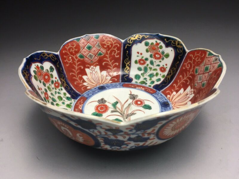 Edo-Meiji Japanese Hand Painted Ko Imari Porcelain Lotus Form Bowl