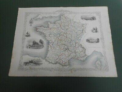 100% ORIGINAL LARGE FRANCE   MAP BY J TALLIS C1858 VGC ORIGINAL COLOUR