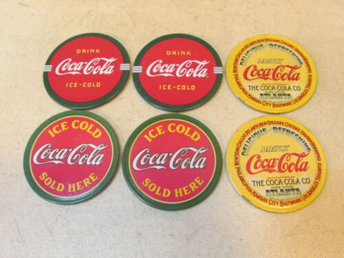 6 PCS. OLDER METAL 2 1/2 IN. ROUND COCA-COLA MAGNETS