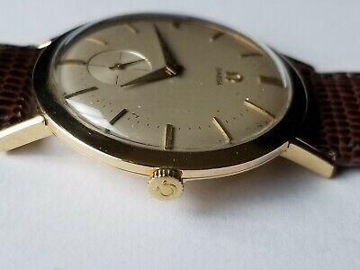 Vintage 1960s Omega 18K Solid Gold Men's Watch Diamete 34mm Swiss Manual Wind
