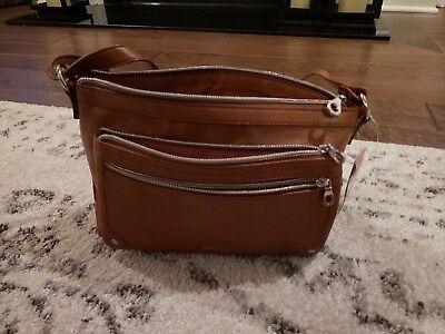 NEW Cognac Relic Bag Brown Cross Body Messenger Zipper Expan