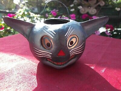 RARE VINTAGE BETHANY LOWE HALLOWEEN PAPER MACHE BLACK CAT CANDY CONTAINER
