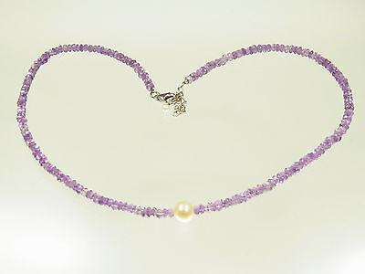 Schöne Amethyst Perlkette mit Süsswasserperle mit 925 Silberschloß 48 cm lang