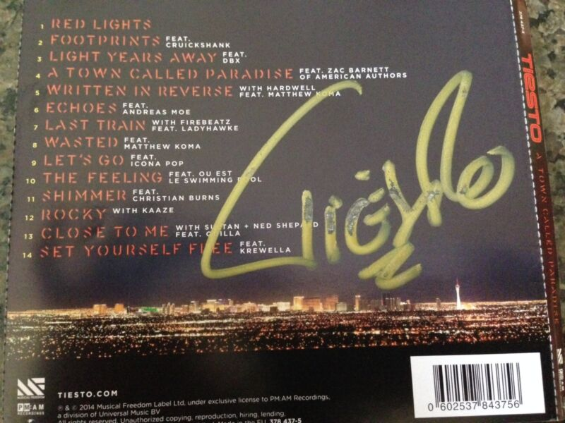 DJ TIESTO CD - A TOWN CALLED PARADISE (2014) - AUTOGRAPHED INSERT NEW SIGNED CD