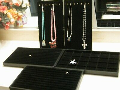 Set Of 5 Jewelry Display Boards Black Velvet Background 8 X 15 Necklace Ring