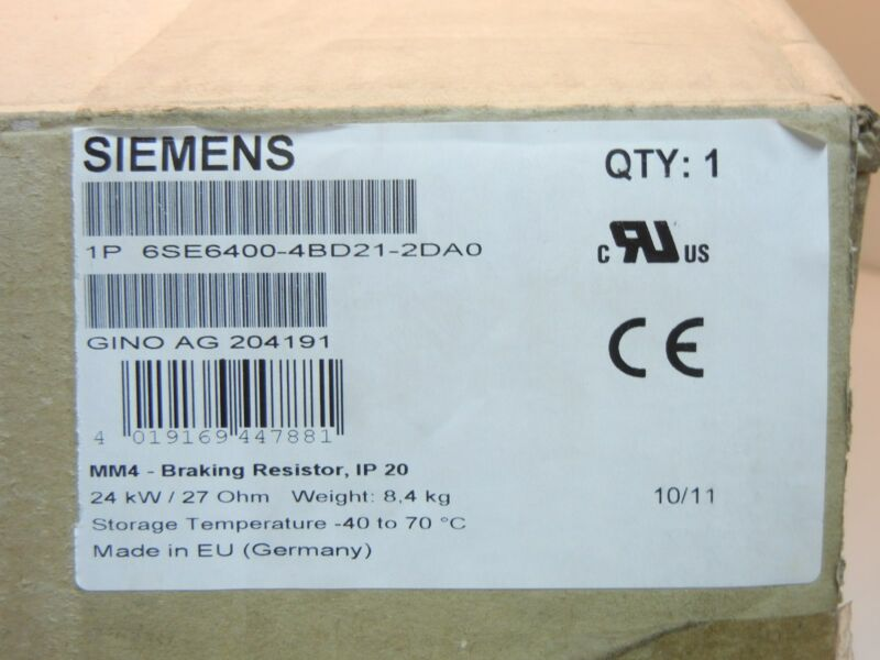 SIEMENS 6SE6400-4BD21-2DA0 NEW MM4 BRAKING RESISTOR 6SE64004BD212DA0