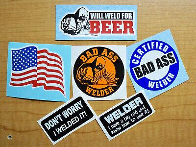 6-pk Funny Welder Helmet Hard Hat Stickers Beer Bad Ass Big Rod Usa Flag Decal