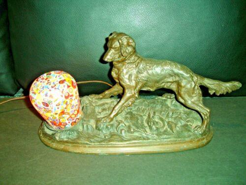 ART DECO LAMP WITH DOG FIGURINE AND MILLEFIORI SATIN GLASS SHADE