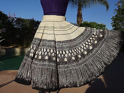 """Vintage 1950s Mexican handpainted circle skirt sequins XS/S 26"""" waist cotton"""